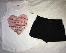 crazy 8 Girls Heart Tank Black Shorts 10-12
