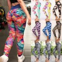 Women High Waist Yoga Pants Sport Fitness Gym Leggings Push Up Stretch Trouser L