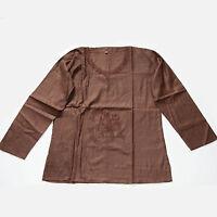 Oberteil mit OM Bestickung Tunika Hemd Baumwolle  Bluse Hippie Goa Braun  Gr.M