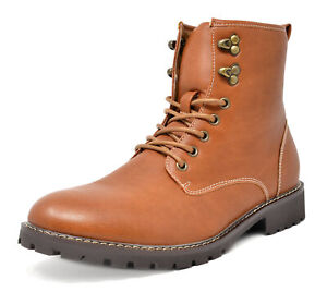 Bruno Marc Mens Lace Up Motorcycle Combat Boots Oxford Leather Dress Ankle Boots