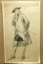 Beau Dessin Ancien XIXe Gentilhomme à la mode du XVIIIe French Old Drawing