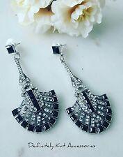 Stunning white & black crystal art deco Gatsby chandelier statement earrings