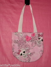 Handmade Girls Purse - Skull print with hearts and bows - Pink