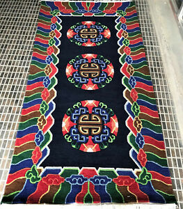 Hand knotted Tibetan 3 coin Traditional carpet ( 90 cm × 180 cm)