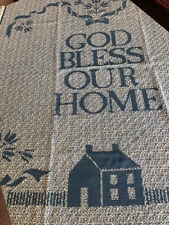 VTG Woven Cotton Blend Blanket With Fringe God Bless Our Home