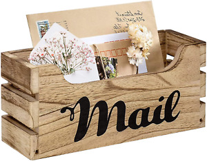 Farmhouse Decor Rustic Mail Holder Box, Rustic Wood Tabletop Mail Organizer with