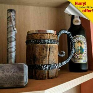 Viking Style Mug Stainless Steel Resin Coffee Beer Viking Wooden Barrel Gift Cup