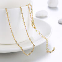 18K Gold Filled Unique Italian Smooth Singapore 18ct GF Necklace Chain 46cm