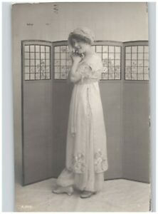 Woman in Long Dress in Front of Room Divider Screen Studio RPPC Sepia 1912