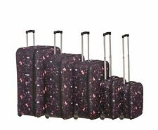 Black Butterfly Suitcase Lightweight Wheeled Travel Trolley Hand Luggage Case