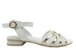 Sandali donna Nero Giardini E115531D scarpe casual con tacco bassi pelle bianche