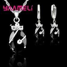925 Sterling Silver Black Waterdrop Dangle Crystal Necklace And Earring Set UK