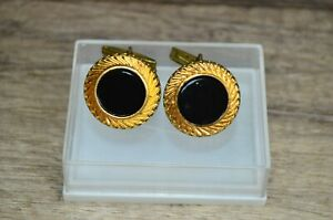 Vintage Soviet Russian USSR Cufflinks Gold Plated Dark Color Stamped With Box