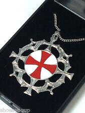 Masonic Knights Templar Solar Cross Pendant & Chain Jerusalem Talisman
