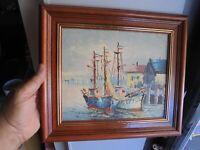 Ancien Tableau : Peinture sur Toile Bateaux de Pêche Signature à identifier