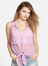 BAND OF GYPSIES TIE FRONT CHIFFON SHIRT TOP BLUSH L (junior) cover-up $56