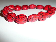 Adorable Czech Glass Ladybug Beads - Red & Black (15) 13mm x 11mm