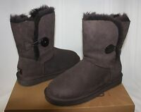 UGG Women's Bailey Button Chocolate Brown Suede boots 5803 New With Box!