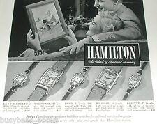 1940 Hamilton Watch ad, wrist watch, mens & ladies