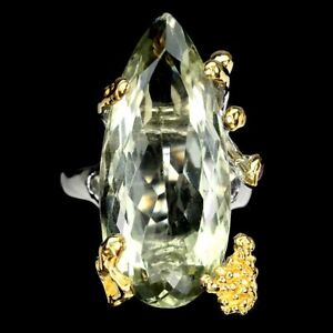 Handmade Pear Green Amethyst 17.78ct Rhodolite 925 Sterling Silver Ring Size 7.5