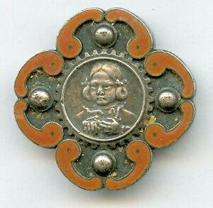 Antique CHINESE Export Orange enamel Girl w/ Pig Tails BROOCH Pin SIGNED