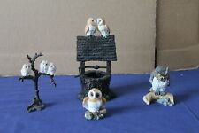 More details for vintage collectable set 4 resin owl ornaments