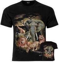 ELEPHANT CHEETAH LION RHINO GIRAFFE WILDLIFE Wild Zoo Unisex T-Shirt S M L XL