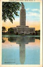 Louisiana State Capitol Baton Rouge LA University Lake Linen Vtg Postcard