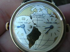 Very Rare VINTAGE Marcel 34 Jewel TRAVEL TIME Swiss Made Watch DOUBLE DIAL