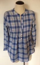 Abercrombie & Fitch Plaid Top Blouse Blue Ruched 3/4 Sleeve Women's Size XS