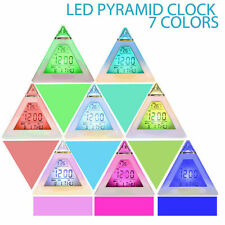 Thermometer Calendar Triangle Alarm Clock Table Watch Night Light LED Screen Hot