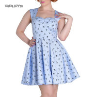 HELL BUNNY Blue Mini Dress 50s Rockabilly Retro LUCINE Cherry All Sizes