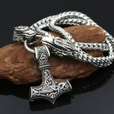 Viking Wolf Head With Thor's Hammer Pendant with Heavy Stainless Steel Chain NEW
