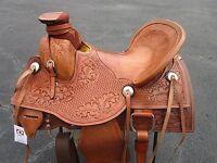 15 16 17 ROPING WADE WESTERN PLEASURE  BASKET WEAVE TOOLED LEATHER HORSE SADDLE
