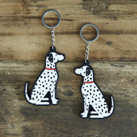 Cute DALMATIAN Keyring, Novelty Gift, PVC Dog Key Ring, Bag Charm, FREE P&P