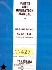 Takisawa SR-14 Majestic Engine Lathe Operation Wiring and Parts Manual