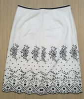 Whistles A Line Skirt White Floral Lace Pattern Lined Ladies Size UK 12