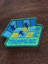 Trampoline Fun Patch Girl Scout Boy Scout Iron On Sew On Green Yellow Blue Jump