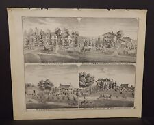Illinois Adams County Map Residence Dr. T.G. Black Engravings 1872 K18#88
