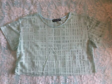 MINT GREEN SQUARE PATTERN SHEER TOP SIZE 12 - NEW WITHOUT TAGS