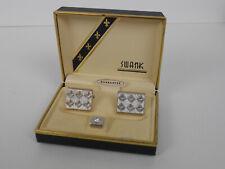Swank 3-pc Silver Diamond Set Cufflinks Tie Tack Original Box NICE Vtg Set!