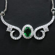 Gorgeous 2 Ct Oval Cut Green Emerald Lab Diamond Halo Paved Pendant Necklace 18""