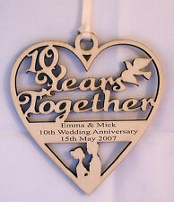 PERSONALISED 10TH YEAR ANNIVERSARY PLAQUE - ENGRAVED WITH YOUR OWN WORDING