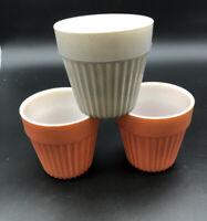 "Set Of 3 Hazel Atlas Moderntone Platonite  Orange And Grey 4"" Flower Pots 1940s"