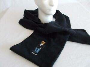 "NWT Polo Ralph Lauren TUXEDO BEAR SCARF Wool Blend BLACK Muffler 76"" X 9"" Mens"