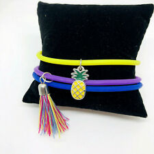 3 Silicone Rubber Bracelets 2.5 Inches Wristband Stretch Pineapple Charm Tassle