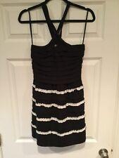 Leifsdottir Anthropologie Black & White Ruffle Babydoll Dress, Size Small