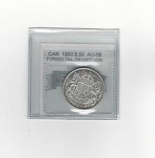 **1950 Forked Tail** Coin Mart Graded Canadian Silver 50 Cent, **AU-58**