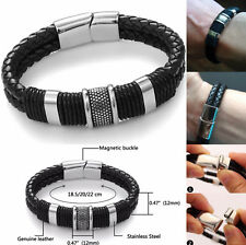 Men's Stainless Steel Magnetic Buckle Bracelet Bangle Cuff Leather Braided 1pc