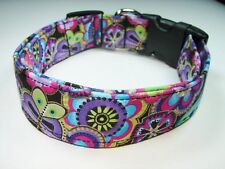 Charming Bright Purple Blue Flowers & Butterflies Adjustable Dog Collar Medium
